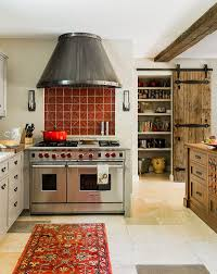 Kitchens:Mediterranean Kitchen With Red Rug Also Wood Island And Pantry  Reclaimed Barn Doors Mediterranean