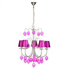 bonsoni hot pink glass 5 arm fabric shades chandelier by protege homeware