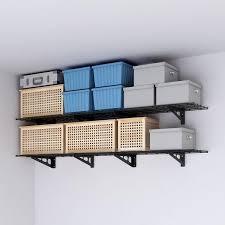 pack black steel garage wall shelves