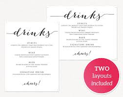 wedding drink menu. Wedding Drinks Menu Wedding Templates and Printables