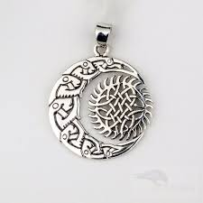 pendant with moon and sun made from sterling silver diameter approx 3