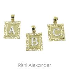 details about genuine 10k gold diamond cut two tone initial monogram letters pendant