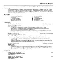 Branch Manager Trainee Resume Examples Free To Try Today