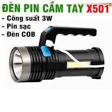 Đèn pin cầm tay mini pin sạc model X501A siêu sáng bằng nhựa có đèn COB - Đèn  pin Hãng No brand