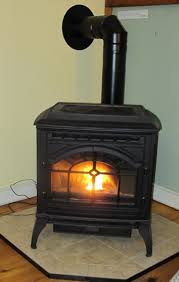 pellet stove in the corner on a tile hearth