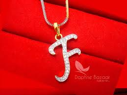 F Alphabet Daphne Zircon Pendant For Men Or Women