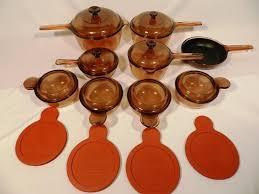corning visions amber pyrex glass cookware saucepan fry pan bowls lids 1900137806