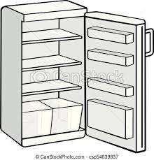 大きい 白 開いている冷蔵庫 イラスト