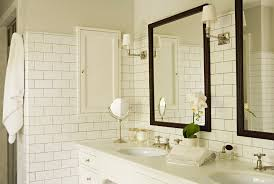 traditional bathroom lighting. Bathroom Wall Lights Traditional With White Subway Tiles Lighting Mirror D