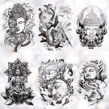 будда шакьямуни водостойкая временная татуировка наклейка бамбуковая лотос