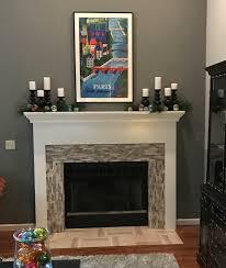 3d polished grey brick stone tile fireplace surround