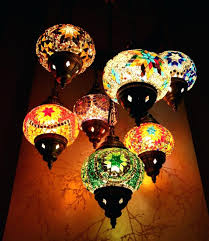 moroccan style chandelier mosaic hanging lamp light hand made 7 globe in home furniture lighting ceiling
