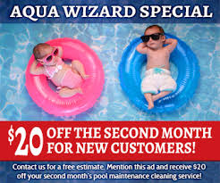Pool service ad Creative Travel Agency Special Acqua Wizard Promotion Chesapeake Marketplace Commercial Pool Service aqua Wizard