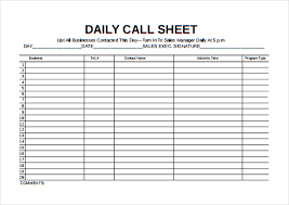 Sales Calls Tracking Template Sales Call Sheet Magdalene Project Org
