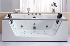 eago am196etl white 71 acrylic whirlpool tub for free standing installation with rear center drain glass front panel and ozone disinfector faucet com