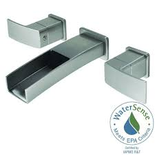 pfister kenzo 2 handle wall mount bathroom faucet trim kit in brushed nickel with waterfall