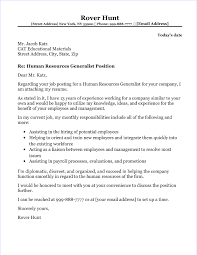 Sample Human Resources Cover Letters Hr Generalist Cover Letter Sample