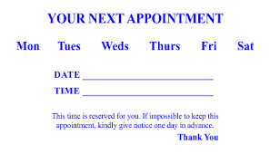 Appointment Card Template Appointment Card Templates 3 And 4