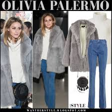 olivia palermo in grey fur tibi toscana coat flared reiss jeans and round rebecca minkoff