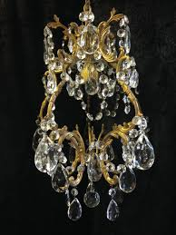 small antique brass crystal chandelier c 1920 1 of 7