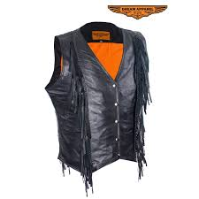 womens leather vest with braid and fringe zoom