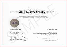 Certificate Of Authenticity Template Interesting Sample Of Certificate Of Authenticity For Artwork Best Of