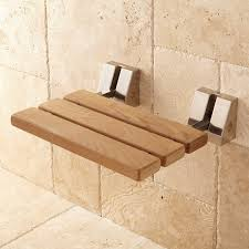 Wall-Mount Teak Folding Shower Seat - Bathroom