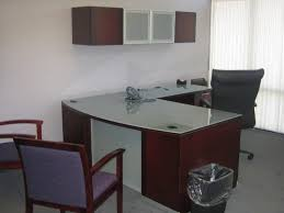 white wood office furniture. Furniture. Brown Varnished Wooden DIY L Shaped Office Desk With White Glass Top Combined Black Wood Furniture C