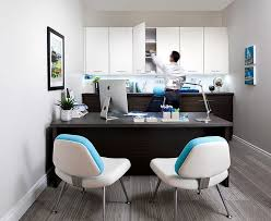 office shared home office with white desk and simple chair also unique wall lighting idea
