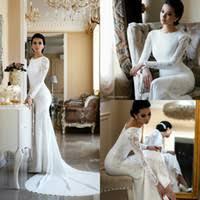 Wedding Dress Plus Size Chart 2019 Modest Mermaid Wedding Dresses Lace Appliqued Beaded Berta Sweep Train Boho Wedding Dress Bridal Gowns Plus Size Sleeves Abiti Da Sposa