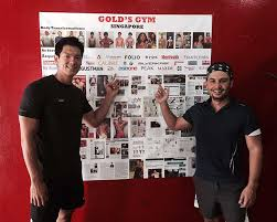 celebrity actor keagan kang with tze khit at gold s gym