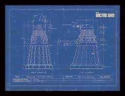 doctor who dalek blueprint framed