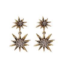 retro crystal star pendant earrings for women