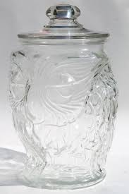 vintage wise old owl libbey clear glass gallon canister cookie jar w lid
