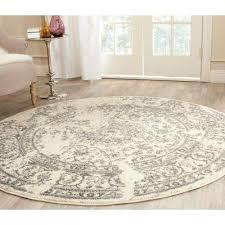 adirondack ivory silver 9 ft x 9 ft round area rug