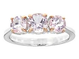 pink morganite sterling silver 3 stone ring 1 40ctw