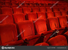 red theater chairs. Red Colored Empty Movie Theater Chairs In Row \u2014 Stock Photo A