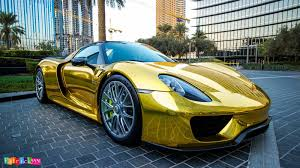 Porsche 918 Spyder Wears Traditional Supercar Gold Chrome Outfit ...