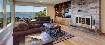 living room interior design with fireplace. Formal Living Room With Large Window, Fireplace And Brown Sofa Interior Design T