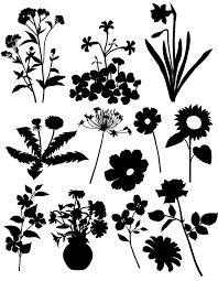 花のシルエット素材集花々のイラストのフリーダウンロード素材