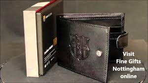 fc barcelona football club black embossed leather wallet official fcb mens wallets fine gifts