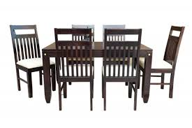 6 seater pencil walnut finish dining table with jailro walnut strip white upholstery chair