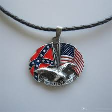 whole men leather necklace new vintage eagle with rebel confederate flag cross star metal charm pendant leather necklace necklace wt080 brand new
