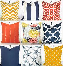 ORANGE OUTDOOR PILLOWS Blue Pillows Yellow Pillow Covers Navy