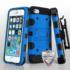 apple iphone 5s blue black 3 in 1 storm tank hybrid case cover combo with holster tempered glass screen protector cellphonecases com