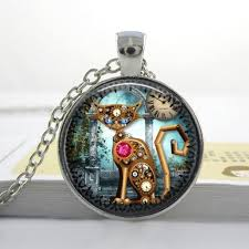 silver steampunk cat necklace