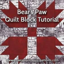 Bears Paw Quilt Block Pattern: Instructions in 3 Sizes & Bear's Paw quilt block tutorial Adamdwight.com