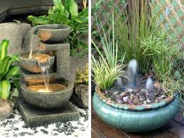 these small vessel water feature designs can sit in a corner or on a table in your small garden or balcony images collect this idea