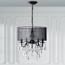 5 light black crystal chandelier with drum shade plug in lighting fixture lamp