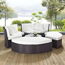 modway furniture convene circular outdoor patio daybed set in espresso white